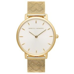 Rebecca Minkoff Gold Tone Pressed Mesh Watch